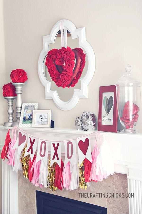 Valentine Mantle Inspiration - oh I love those felt poms!