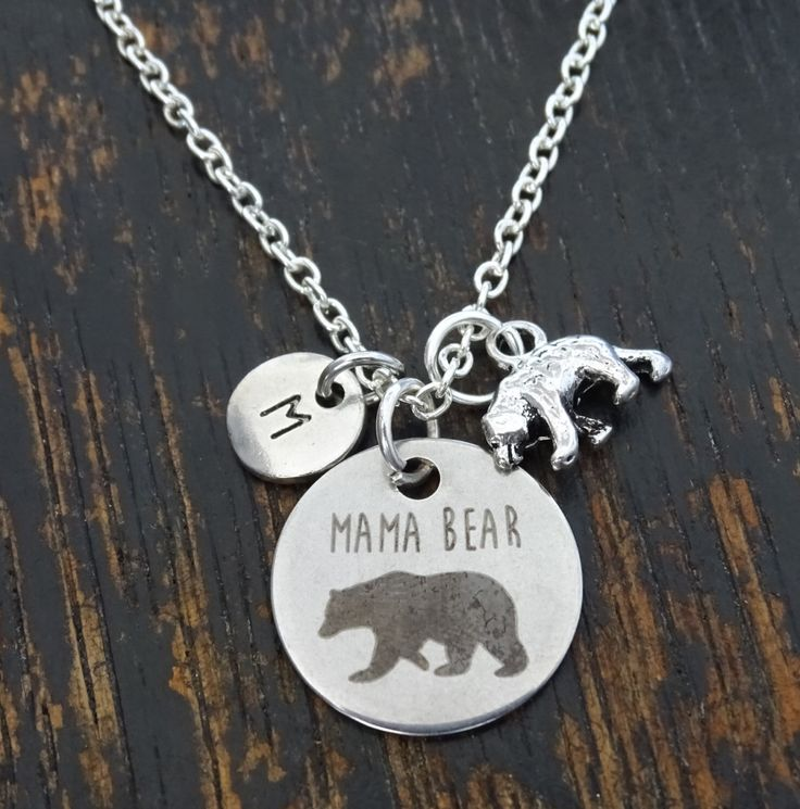Mama Bear Necklace, Mama Bear Charm, Mama Bear Pendant, Mama Bear Jewelry, Momma Bear Necklace, Momma Bear Jewelry, Mama Bear Baby, Mom Gift by TrueGlows on Etsy https://www.etsy.com/listing/472257621/mama-bear-necklace-mama-bear-charm-mama