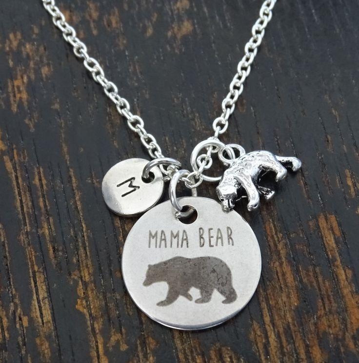 Mama Bear Necklace, Mama Bear Charm, Mama Bear Pendant, Mama Bear Jewelry, Momma Bear Necklace, Momma Bear Jewelry, Mama Bear Baby, Mom Gift by TrueGlows on Etsy https://www.etsy.com/listing/472257621/mama-bear-necklace-mama-bear-charm-mama