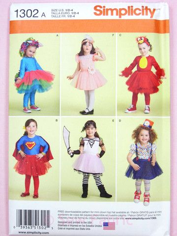 Simplicity 1302 Sewing Pattern - Toddlers Fancy Dress / Fun Costumes & – Sew Fabric - Dressmaking Creativity & Excellence