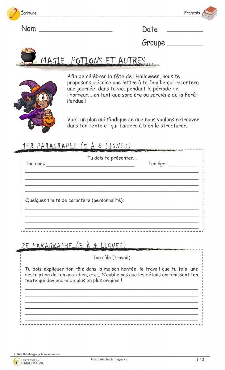 Ce document est une situation d'écriture originale travaillant le texte descriptif. L'élève devra écrire une lettre en s'imaginant être dans la peau d'un sorcier ou d'une sorcière. Il est aussi possible d'utiliser ce document en évaluation.