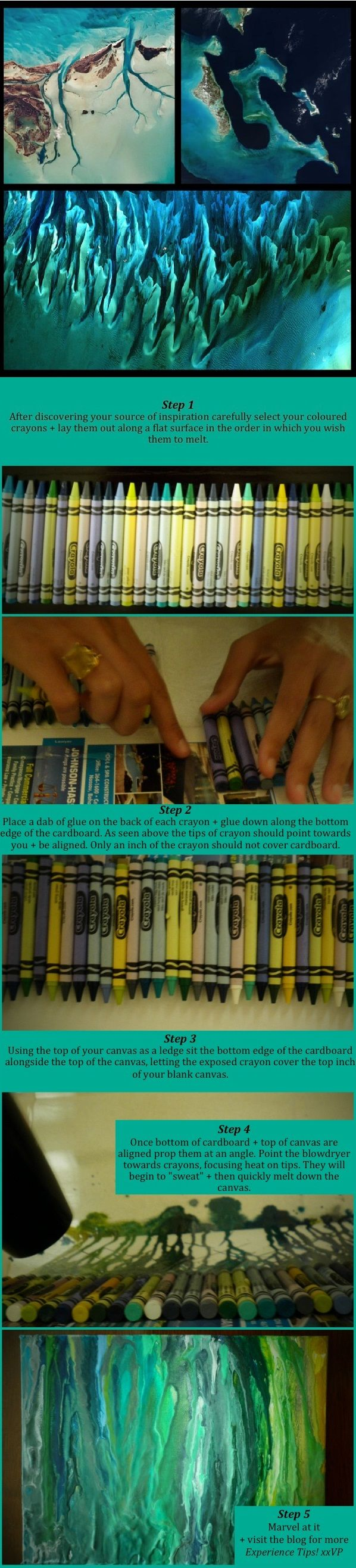 Craft for kids - How to make melted crayon art, without gluing the crayon to the canvas