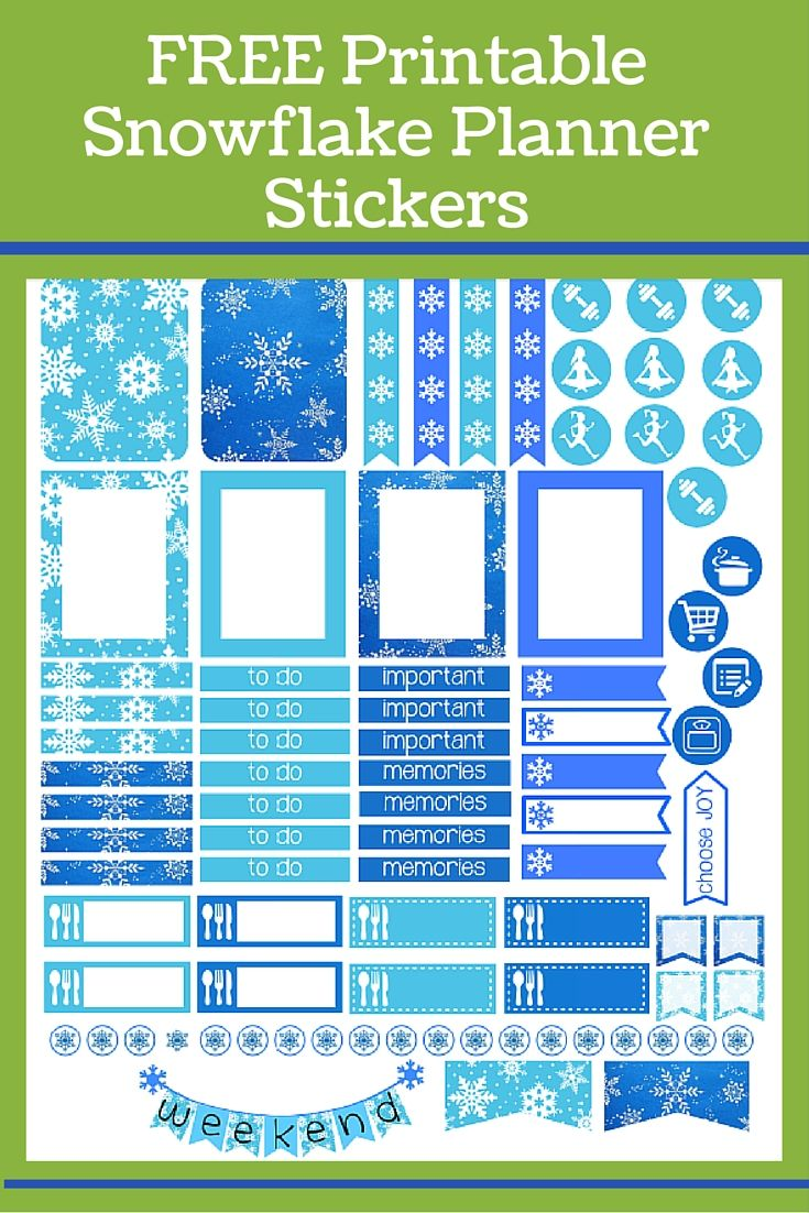 FREE printable snowflake stickers to organize your week using an Erin Condren planner and. Add daily tasks, meal planning & grocery shopping, and use the fitness stickers to plan your daily workouts.  WeighToMaintain.com  Download the free printable planner stickers to get organized - creatively.