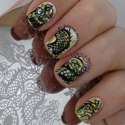 Leonie's Nailart: Stampingplate Y015, review for Born Pretty Store