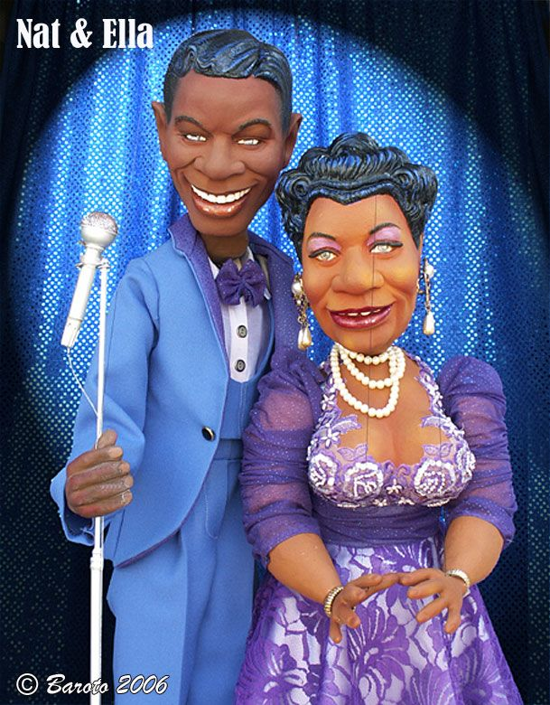 Nat King Cole & Ella Fitzgerald - Celebrity Caricature Marionettes - Michael Baroto 2006