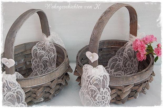 2 Streukörbchen Hochzeit Blumenkind grau von Wohngeschichten von K. auf DaWanda.com