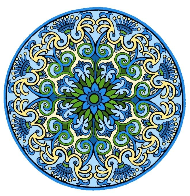 "There is a coloring page of this on my other board ""Mandala Coloring Pages.""  See Mandala 425.  Mystical Mandalas Coloring Book, Dover Publications."