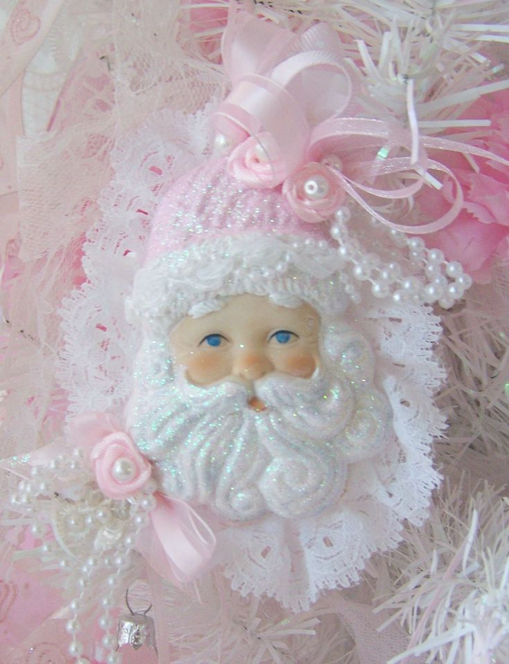 Princess Shabby Chic Pink Santa Claus Head Ornament