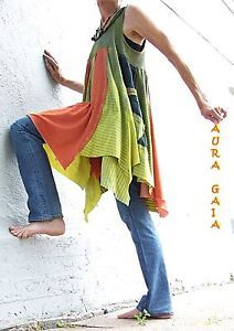 AuraGaia ~ OverDyed Upcycled Tank Top Swing Skirted Tunic in olive, chartreuse, pumpkin with raw edges, tattered goodness