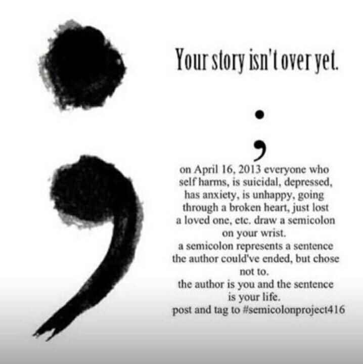 Tattoos Overcoming Depression Quotes Quotesgram: SemiColon My Story Isn't Over Yet