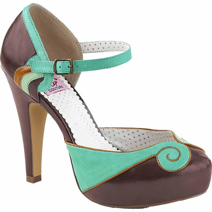 Inked Boutique - BETTIE-17 Platform d'Orsay Pump Brown/Teal Rockabilly Vintage Retro Pin Up www.InkedBoutique.com