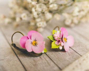 Pansies earrings Pansy flower earrings polymer clay flowers
