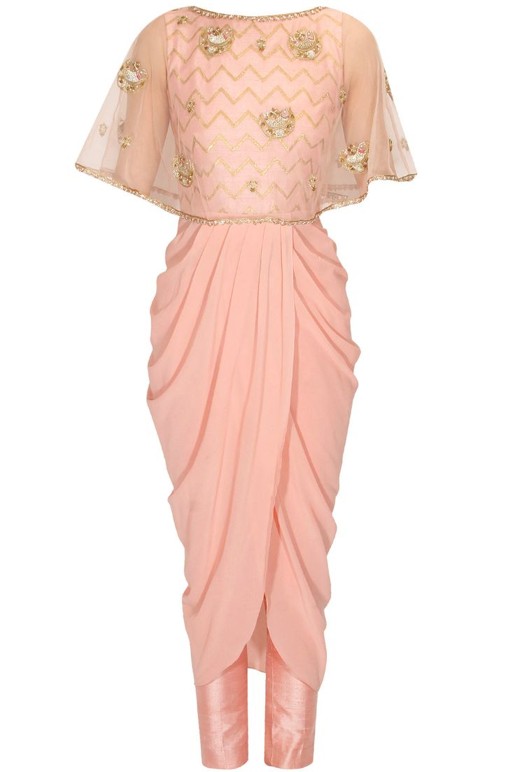 Blush pink zigzag panel drape kurta and straight pants set available only at…