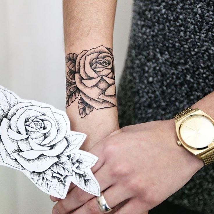 Linework Rose Tattoo On Wrist   Tattoos On Women -6876