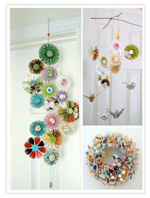 Paper crafts. Love the bird wreath.