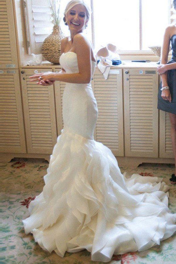 Organza Mermaid Wedding Dresses, 2017 Long Custom Wedding Gowns, Affordable Bridal Dresses, 17110