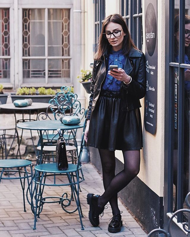 Pin for Later: Proof That a Leather Skirt Is the Most Versatile Piece a Woman Can Own With a Leather Jacket, Ruffled Top, Tights, and Brogues