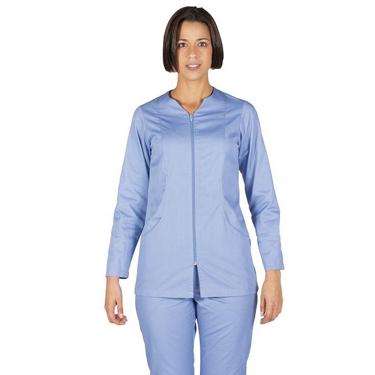 6236 blusa mujer con cremallera y manga larga en color celeste
