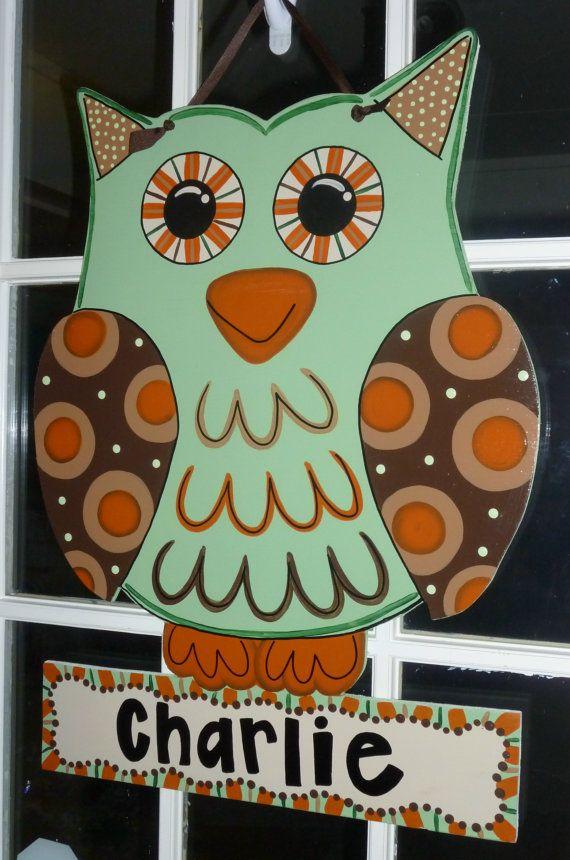 Large Handmade Wooden Owl Door Hangers / by OnTheBrightSideArt, $45.99