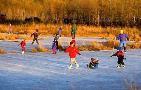 Outdoor ice skating...used to skate on a Pond in ...