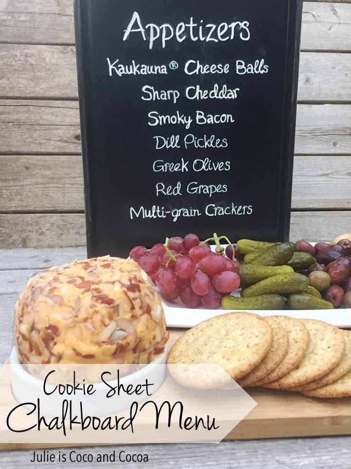 Cookie Sheet Chalkboard Menu  Planning a party or get-together? Or maybe you just want to announce whats for dinner. Make this easy DIY Cookie Sheet Chalkboard Menu! #InspireWithCheese AD