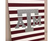 Texas A & M University Canvas  #handmade #canvas #painting #a&m #texas #university #maroon #silver #glitter #stripes #student #college #aggies #aggie #collegestation #gift #dormroom