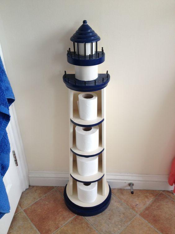 Toilettenpapierhalter für Leuchtturm. Was für eine lustige Idee. Versucht, Quelle zu finden – kein Erfolg. Ganz an der Küste: www.pinterest.com …