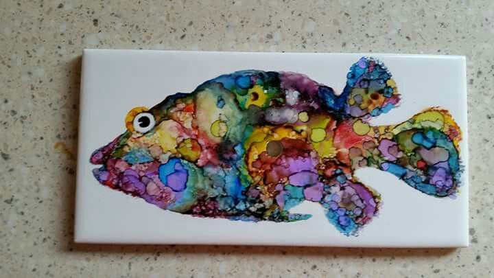 Alcohol ink artwork fish painting on ceramic tile