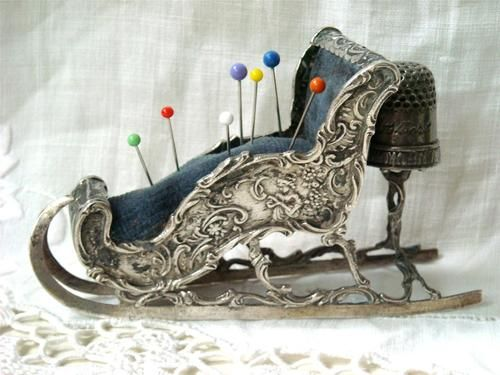 RARE Antique German Solid Silver Figural Sleigh Pin Cushion Thimble Circa 1890 | eBay