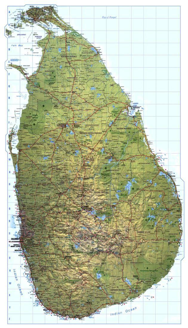 Sri Lanka map kaart Ceylon Serendip