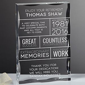 Create a professional executive gift with the Retirement Personalized Keepsake Block. Find the best personalized office gifts at PersonalizationMall.com