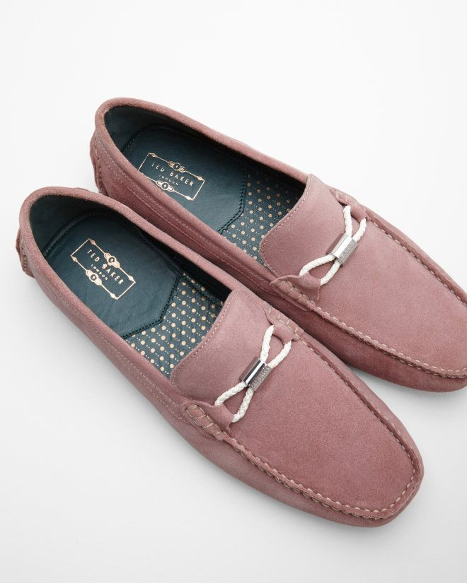 b0924880aeed99 Braided trim suede driving loafers - Light Pink
