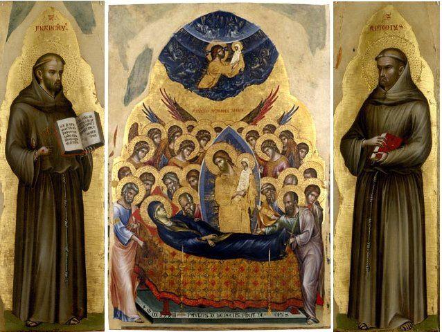 "Paolo Veneziano ""Dormitio Virginis, San Francesco d'Assisi, Sant'Antonio da Padova"" tavola, 1333 / Images © Musei Civici Vicenza"