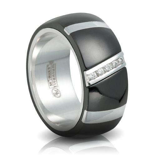 sexy. Black titanium wedding band. love the unique lines!