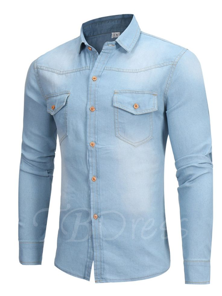 Tbdress.com offers high quality camisa de mezclilla de los hombres slim fit de algodón vintage de la solapa Men's Shirts unit price of $ 29.99.