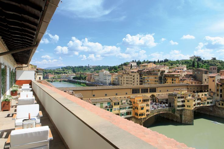 Portrait Firenze, Italy - This boutique hotel is a stone's throw from the arches of Florence's Ponte Vecchio so the view is pretty gobsmacking. It's part of the Ferragamo family is brimming with beautiful squishy velvet sofas and brilliant marble suites. Head to the hotel restaurant Caffe Dell'Oro and tuck into homemadegelatoright on the banks of the river Arno. Tan-topping at its most romantic.