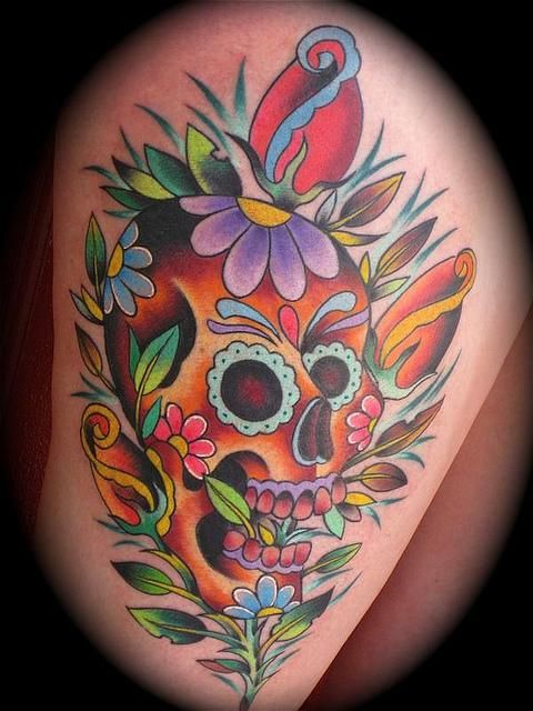 flower sugar skull tattoo - photo #6