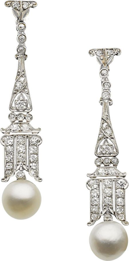 Estate Jewelry:Earrings, Art Deco Natural Pearl, Diamond, Platinum, White Gold Earrings. ... Image #1
