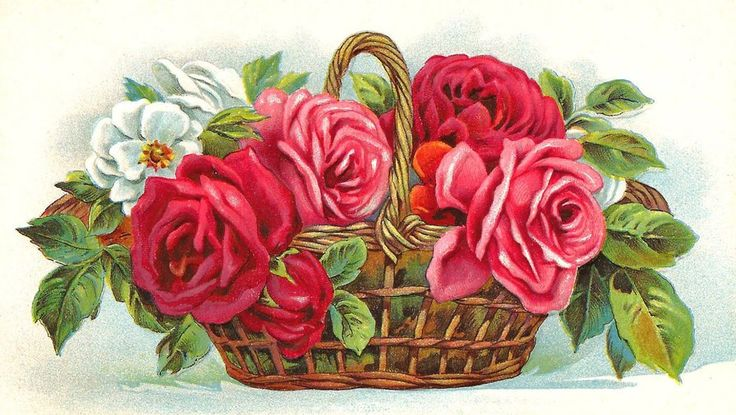 Схема вышивки «Ккорзина с цветами» - Вышивка крестом