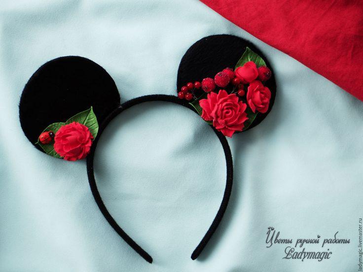 Купить Ободок Минни Маус красный - ярко-красный, минни маус, ушки на ободке, уши