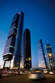 Cuatro Torres Business Area (Four Towers Business Area). Located in Madrid, these impressive buildings are the tallest skyscrapers in Spain.
