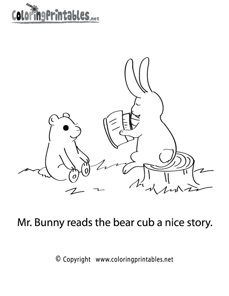 Reading Story Coloring Page Printable.
