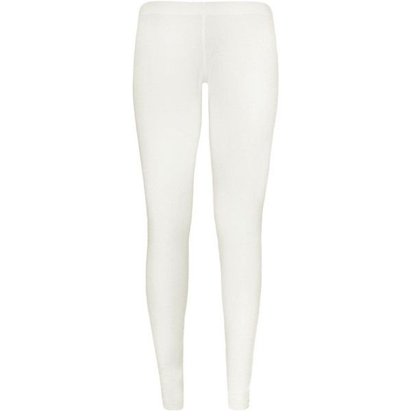 Yvette full length Plain Leggings ($11) ❤ liked on Polyvore featuring pants, leggings, cream, legging pants, stretchy pants, white legging pants, white stretchy pants and cream leggings