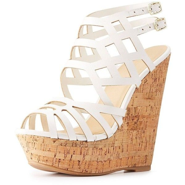 Charlotte Russe Caged Cork Wedge Sandals (2,315 INR) ❤ liked on Polyvore featuring shoes, sandals, white cork wedge sandals, white wedge shoes, white shoes, caged wedge sandals and white wedge sandals