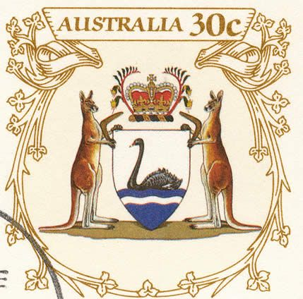 Western Australian Coat of Arms - Stamp Arena - Australian Stamps - The Stamp Collecting Hub