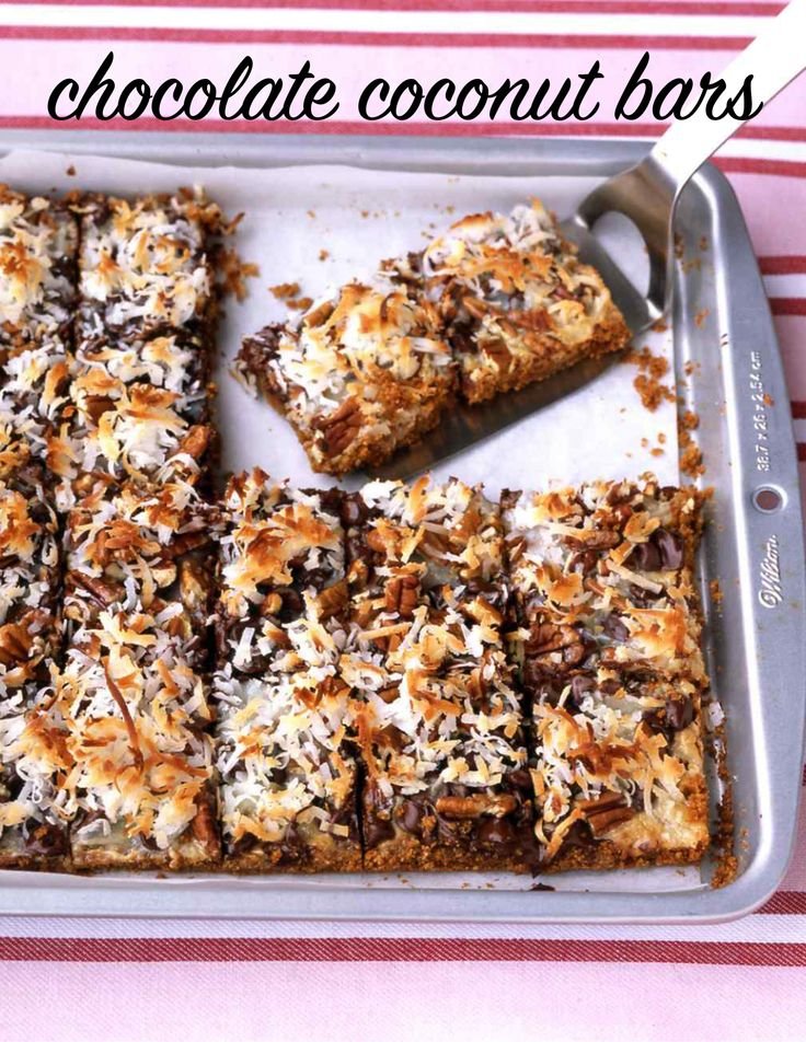 Chocolate Coconut Bars | Martha Stewart Living - These decadent bars are inspired by Hello Dollies, a popular Southern dessert.