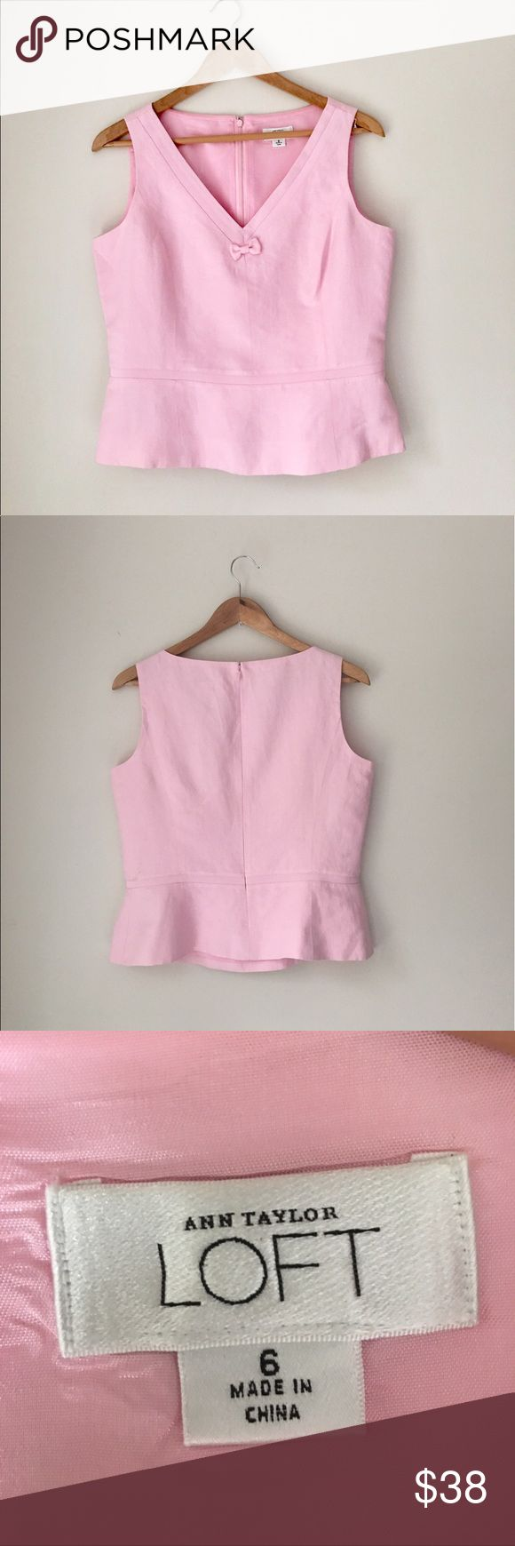 LOFT Pink Linen Sleeveless Peplum Top Gorgeous candy Pink Linen blend sleeveless peplum top by Ann Taylor LOFT. Size 6. EUC. LOFT Tops Tunics