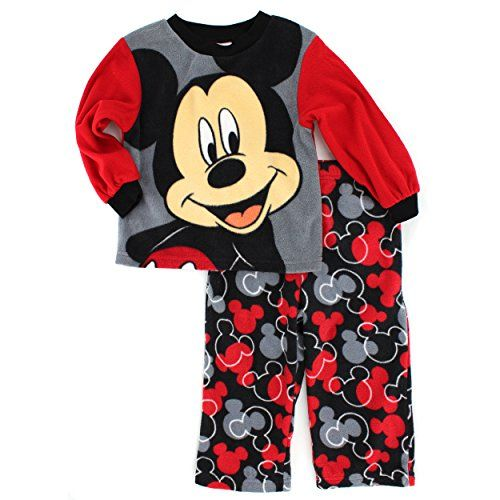 Mickey Mouse Boys Fleece Pajamas 3t Mickey Red Black