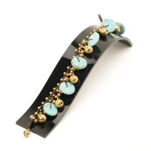 New round turquoise charms brass ankle bracelet anklet by 81stgeneration 81stgeneration. $17.45. .