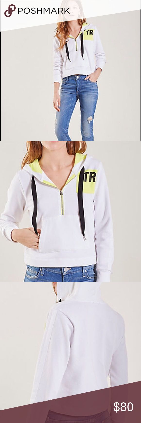 True religion neon hit zip front up hoodie green DESCRIPTION Elevate your activewear with this luxe zip front hoodie with a pop of neon detailing. (Also have matching sweatpants if desired)    Women's hoodie Relaxed fit Front pouch pocket 100% cotton Made in the USA with imported fabrics and materials. True Religion Tops Sweatshirts & Hoodies